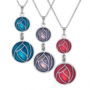 Mackintosh Double Rose Pendant Glass Enamel
